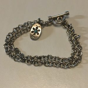 Sterling Silver Toggle bracelet with small charm